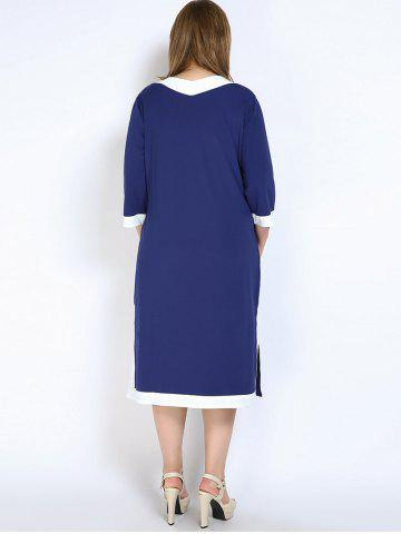 Fancy V Neck Side Slit Plus Size Dress - 7XL BLUE Mobile