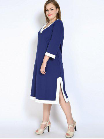 Sale V Neck Side Slit Plus Size Dress - 7XL BLUE Mobile