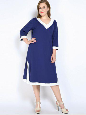 Shops V Neck Side Slit Plus Size Dress - 7XL BLUE Mobile