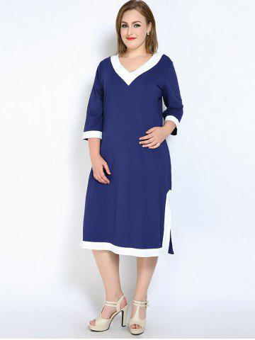 Unique V Neck Side Slit Plus Size Dress - 7XL BLUE Mobile