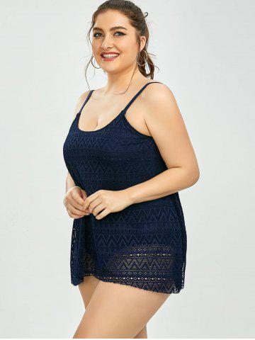 02189ac37f 59% OFF] Plus Size Hollow Out Lace Tankini Set | Rosegal