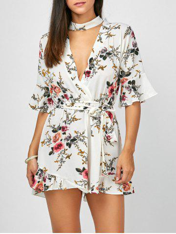 Discount Plunging Neck Flounce Floral Bell Sleeve Romper WHITE S