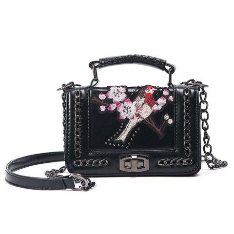 Embroidered Cross Body Chains Bag - Black - Horizontal