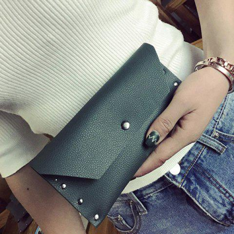 Sale Textured Faux Leather Clutch Wallet - BLACKISH GREEN  Mobile