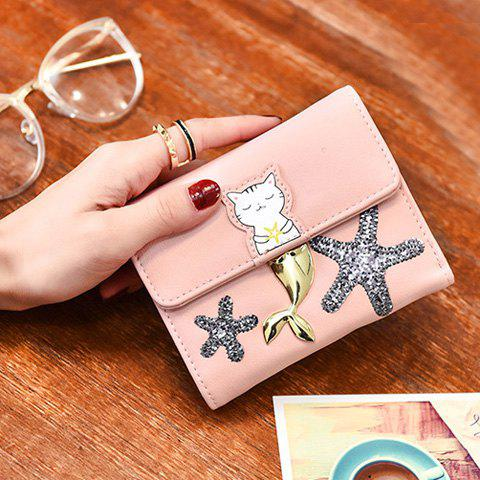 Hot Sequied Starfish Tri Fold Small Wallet - PINK  Mobile
