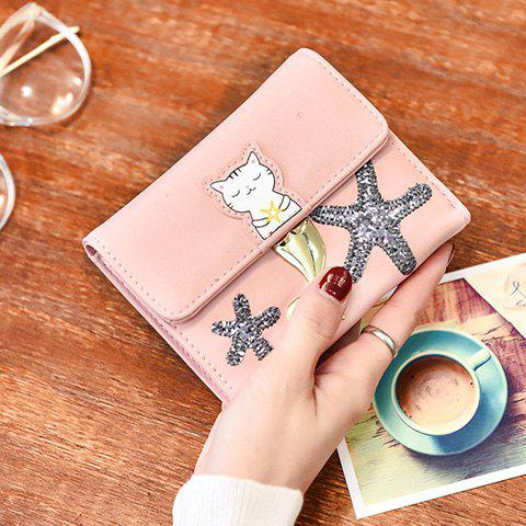 Sale Sequied Starfish Tri Fold Small Wallet - PINK  Mobile