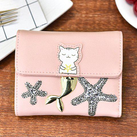 Online Sequied Starfish Tri Fold Small Wallet - PINK  Mobile