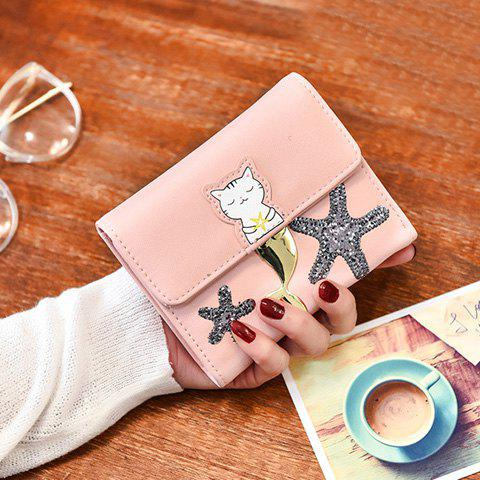 Outfits Sequied Starfish Tri Fold Small Wallet - PINK  Mobile