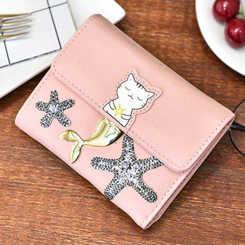 Discount Sequied Starfish Tri Fold Small Wallet - PINK  Mobile
