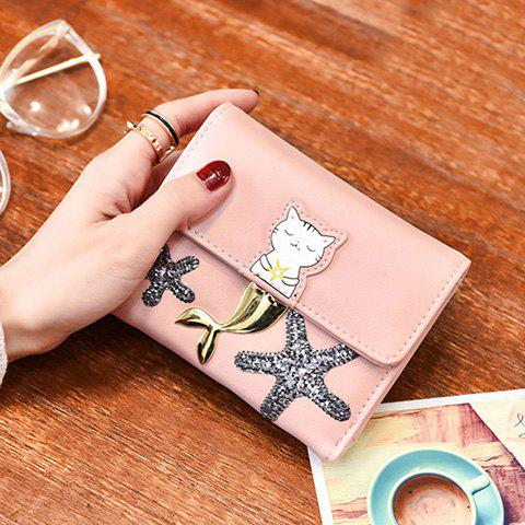 Best Sequied Starfish Tri Fold Small Wallet - PINK  Mobile