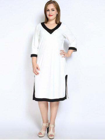 Shops V Neck Side Slit Plus Size Dress - XL WHITE Mobile