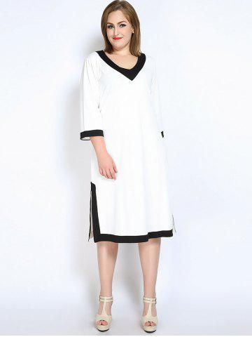 Outfit V Neck Side Slit Plus Size Dress - 5XL WHITE Mobile