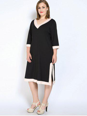 Unique V Neck Side Slit Plus Size Dress - 5XL BLACK Mobile