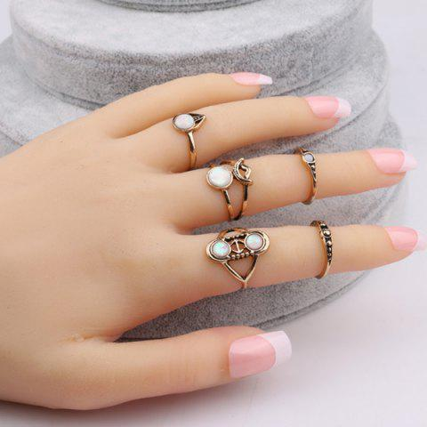 Chic Artificial Gem Circle Ring Set - ONE-SIZE GOLDEN Mobile