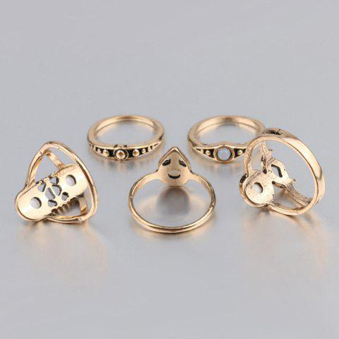 Shop Artificial Gem Circle Ring Set - ONE-SIZE GOLDEN Mobile