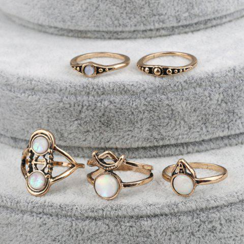 Discount Artificial Gem Circle Ring Set - ONE-SIZE GOLDEN Mobile