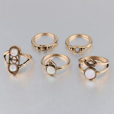 Outfit Artificial Gem Circle Ring Set - ONE-SIZE GOLDEN Mobile