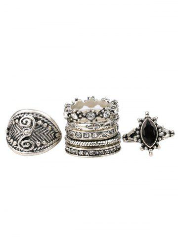 Unique Vintage Rhinestone Engraved Ring Set - ONE-SIZE SILVER Mobile