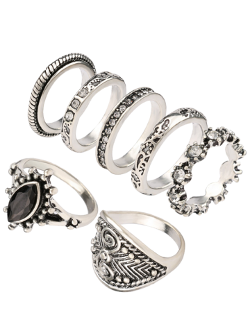 Shop Vintage Rhinestone Engraved Ring Set - ONE-SIZE SILVER Mobile