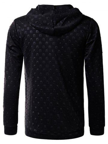Store 3D Geometric Emboss Zip Up Hoodie and Pants Twinset - XL BLACK Mobile