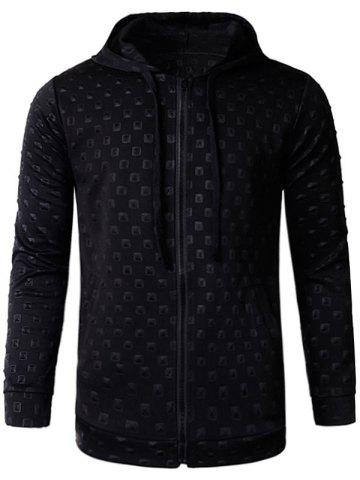 Store 3D Geometric Emboss Zip Up Hoodie and Pants Twinset - L BLACK Mobile