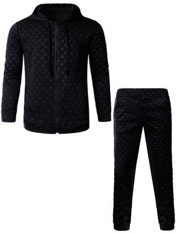 Store 3D Geometric Emboss Zip Up Hoodie and Pants Twinset - M BLACK Mobile