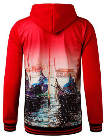New 3D Eagle Graphic Print Hooded Fleece Hoodie - 2XL RED Mobile
