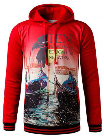 New 3D Eagle Graphic Print Hooded Fleece Hoodie - XL RED Mobile