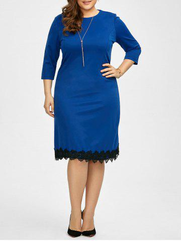 Sale Plus Size Lace Trim Knee Length Work Dress - 5XL ROYAL Mobile
