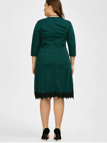 Outfit Plus Size Lace Trim Knee Length Work Dress - 3XL BLACKISH GREEN Mobile