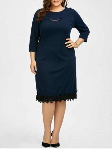 Best Plus Size Lace Trim Knee Length Work Dress - 5XL PURPLISH BLUE Mobile