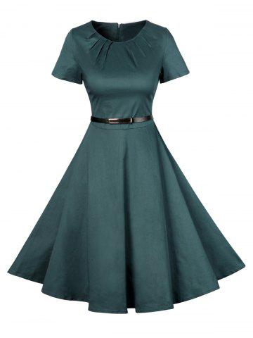 Trendy Vintage Short Sleeve Swing Skater Dress - S GREEN Mobile