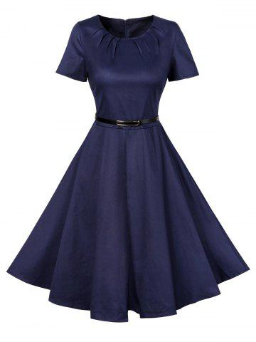 Fashion Vintage Short Sleeve Swing Skater Dress CERULEAN L