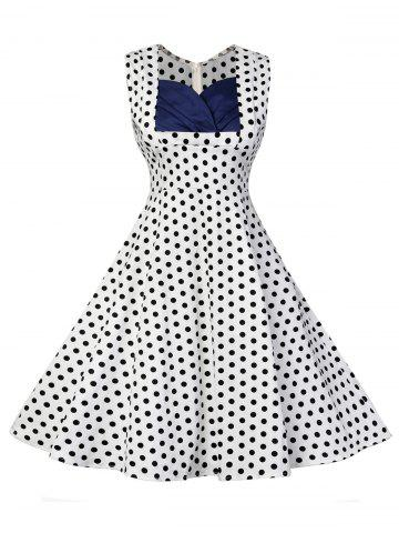 Unique Vintage Polka Dot Fit and Flare Dress - M WHITE Mobile