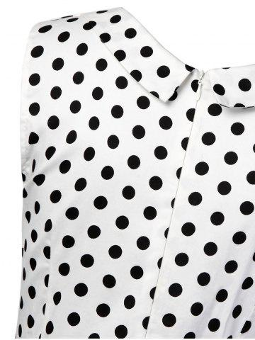 Store Vintage Polka Dot Fit and Flare Dress - L WHITE Mobile