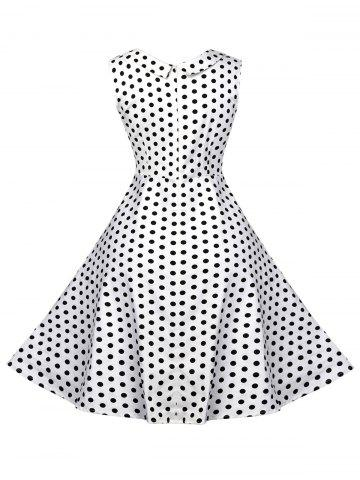 Cheap Vintage Polka Dot Fit and Flare Dress - L WHITE Mobile