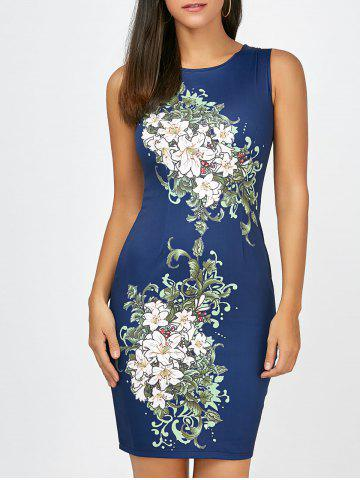 New Short Bodycon Sleeveless Floral Dress CERULEAN XL
