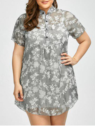Trendy Plus Size Floral See Through Blouse with Camisole GRAY 3XL