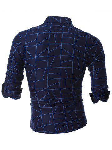 Outfits Faux Pocket Geometric Printed Casual Shirt - 3XL BLUE Mobile