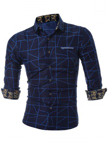 Latest Faux Pocket Geometric Printed Casual Shirt - 3XL BLUE Mobile