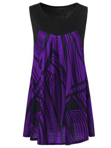 Best Plus Size Graphic Extra Long Tank Top - 4XL DEEP PURPLE Mobile