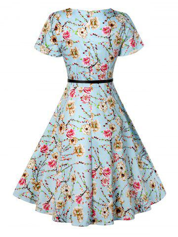 Discount Retro Knee Length Pin Up Dress - S AZURE Mobile