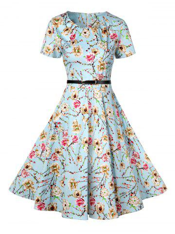 Best Retro Knee Length Pin Up Dress - 2XL AZURE Mobile