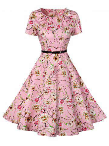 Cheap Retro Knee Length Pin Up Dress - 2XL PINK Mobile