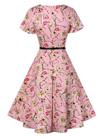 Shop Retro Knee Length Pin Up Dress - S PINK Mobile