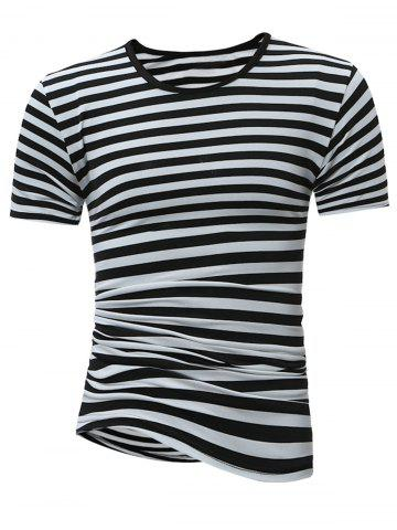Crew Neck Stripe Tee - White And Black - 2xl