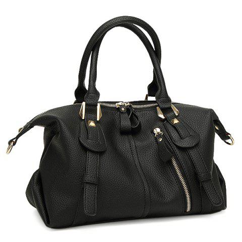 Straps Detail Textured Faux Leather Tote Bag - Black