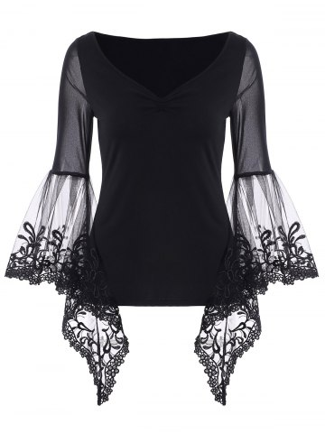 Latest V Neck Bell Sleeve Sheer Lace Panel T-Shirt BLACK S