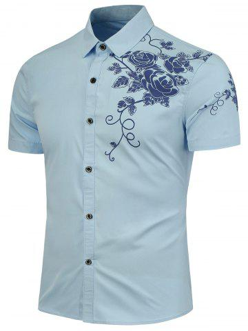 Trendy Rose Printed Short Sleeves Casual Shirt - 3XL LIGHT BLUE Mobile