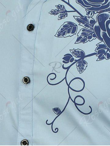Chic Rose Printed Short Sleeves Casual Shirt - 3XL LIGHT BLUE Mobile